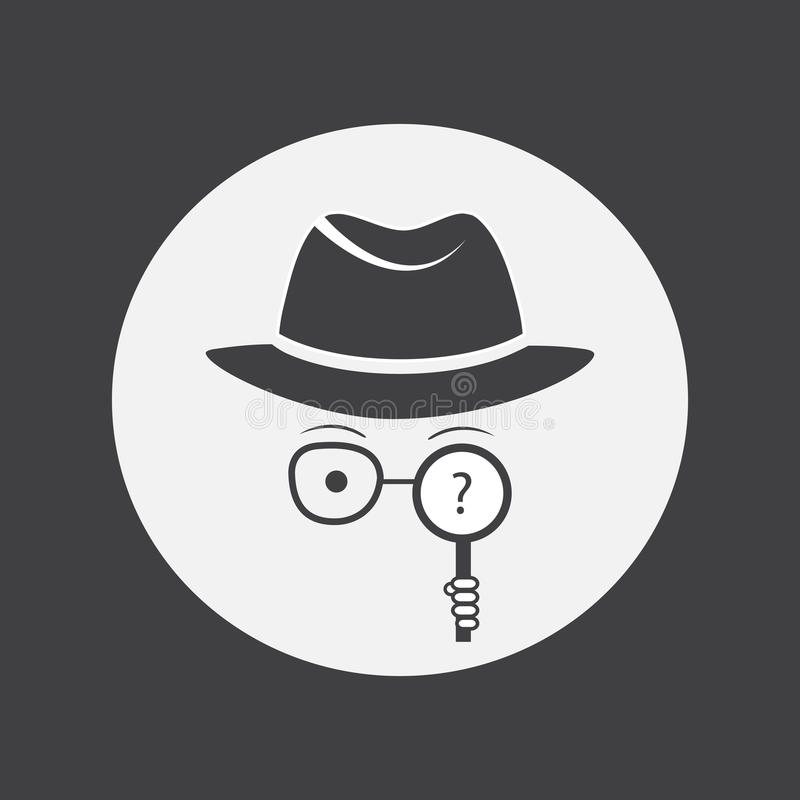 Detective. Spy. Unknown man in hat, glasses and a magnifying glass in hand. vector illustration
