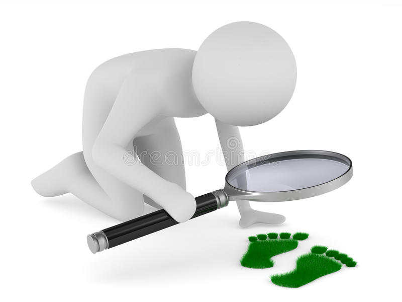 Detective studies traces. Isolated 3D image. On white royalty free illustration