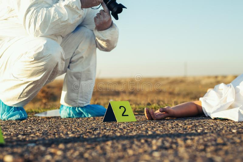 Detective studying a crime scene taking photographs. Young Detective studying a crime scene taking photographs royalty free stock image