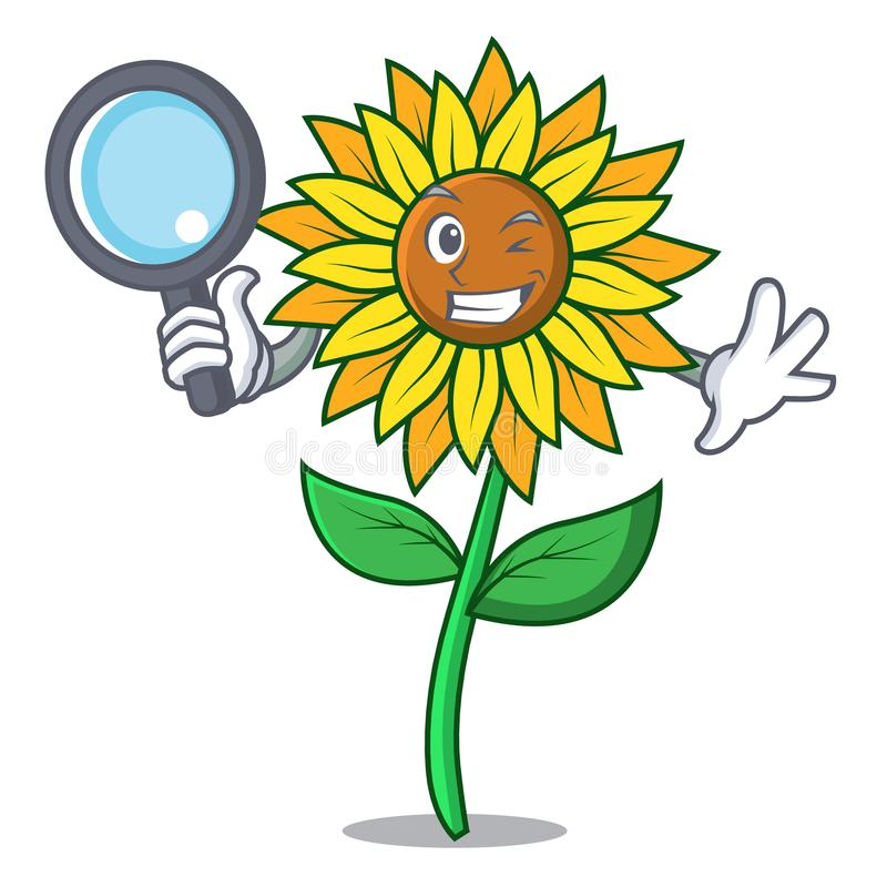 Detective sunflower character cartoon style royalty free illustration