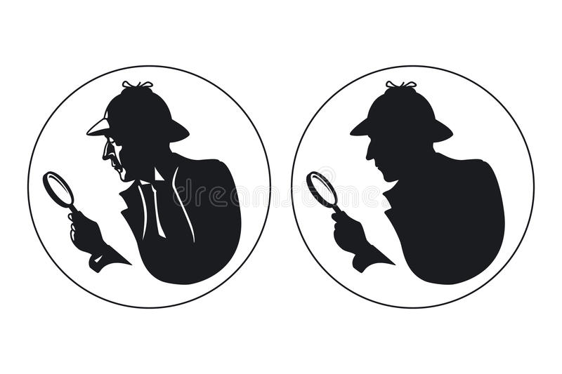 Detective vector silhouette royalty free illustration