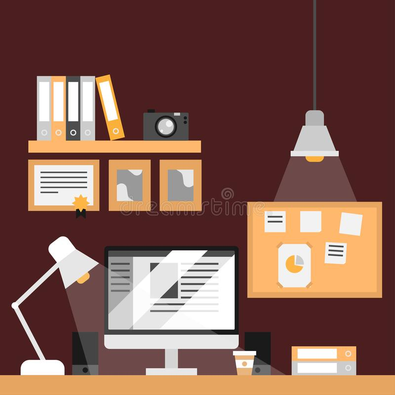 Detective workplace. Flat furniture and equipment stock illustration