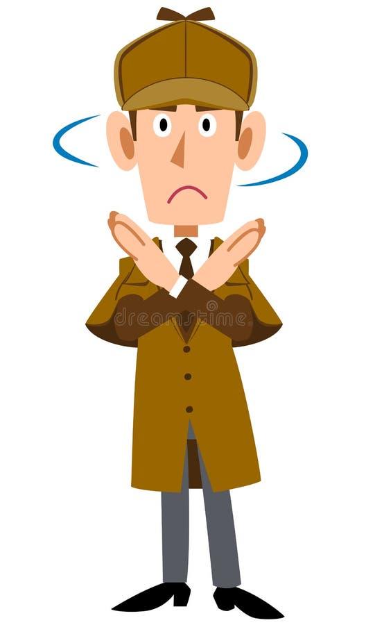 Detectivemannetje die een gebaar van ontkenning tonen stock illustratie