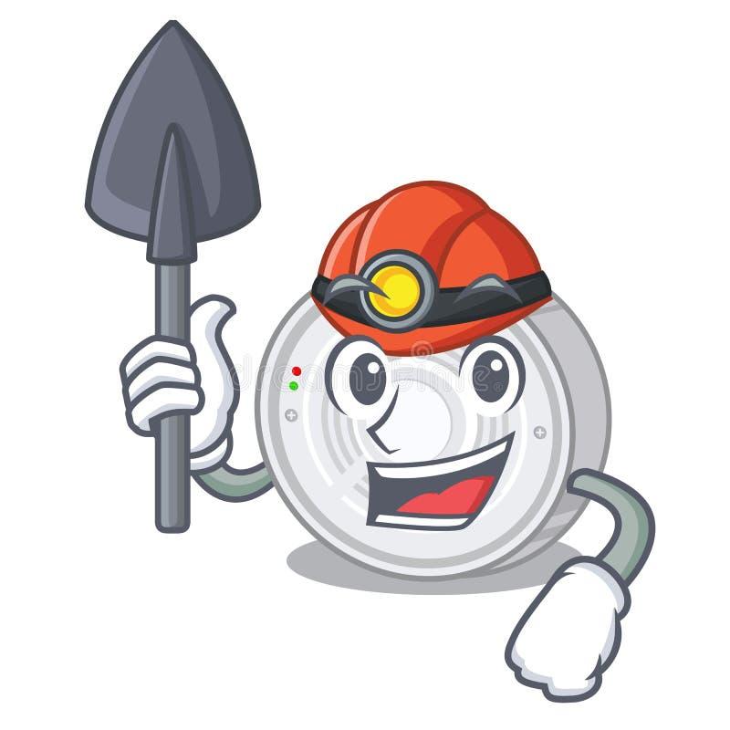Detector de fumo do mineiro na forma dos desenhos animados ilustração stock