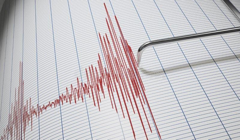 Detector ou sismógrafo de mentira para a detecção do terremoto 3D rendeu a ilustração ilustração stock