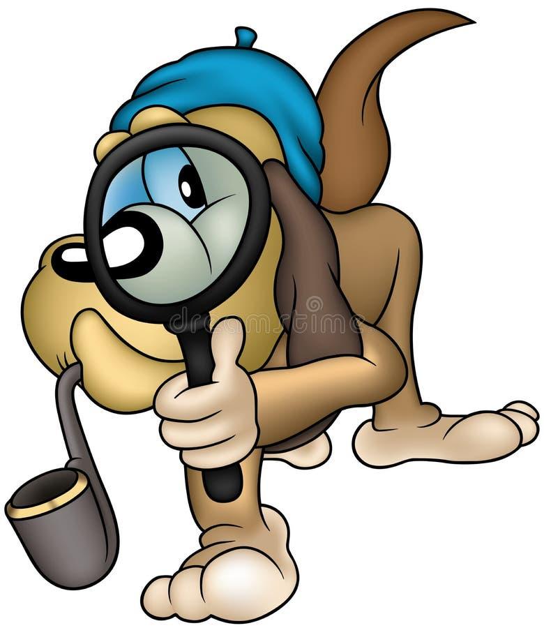 detektiv- hund royaltyfri illustrationer