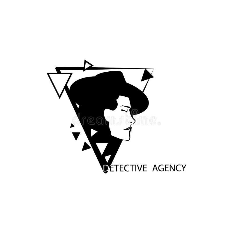 detektiv- illustration för kvinnabyrålogo royaltyfri illustrationer