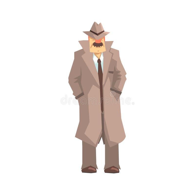 Detektiv- illustration för teckenanseende-, privatdetektiv-, inspektör- eller polisvektor stock illustrationer