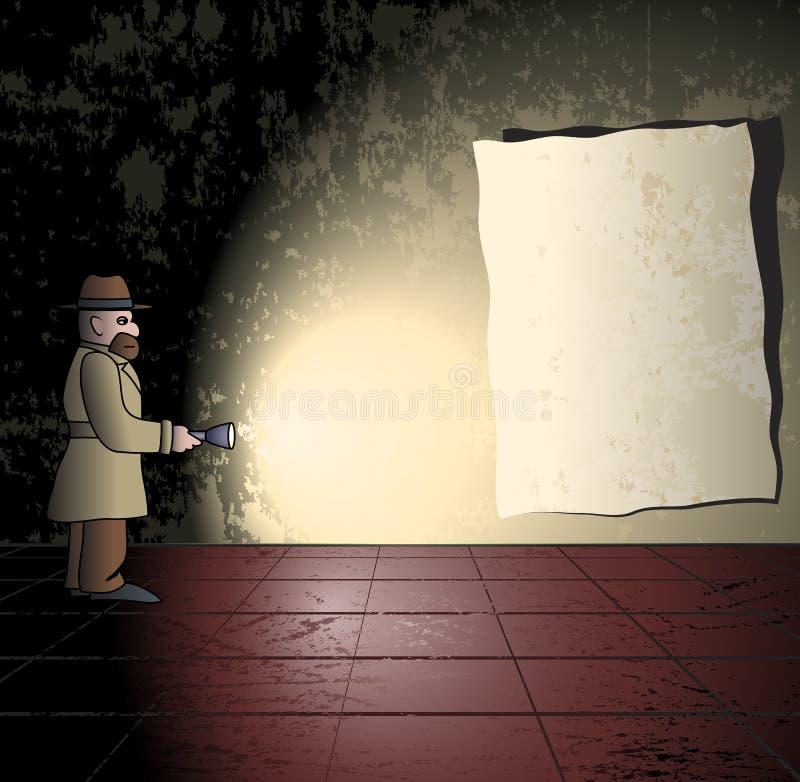 Detektiv im grungy Raum lizenzfreie abbildung