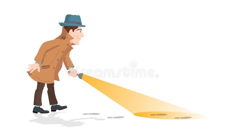 Detektiv- innehav en ficklampa royaltyfri illustrationer