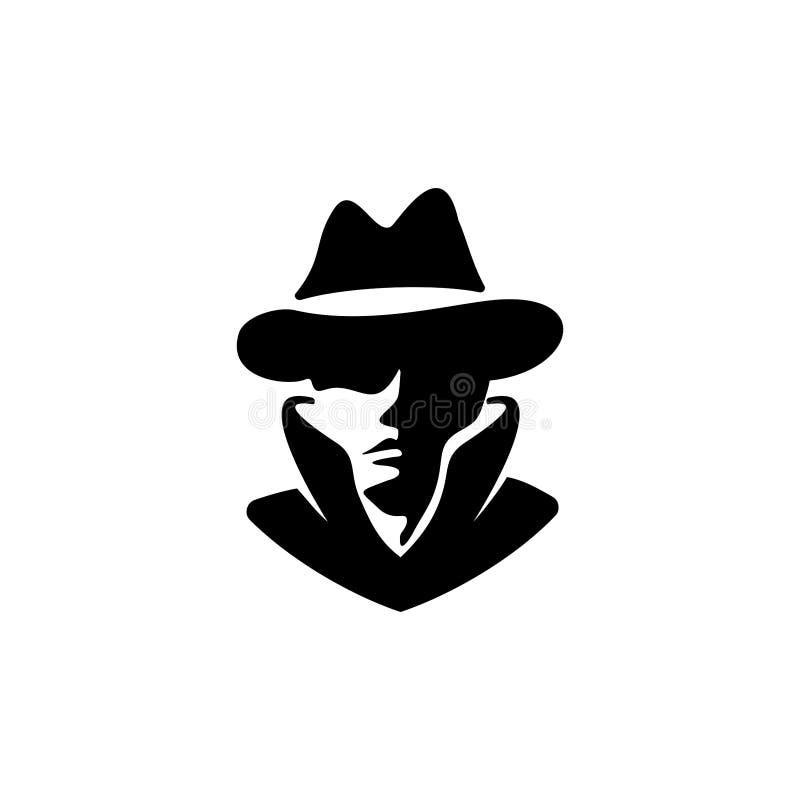 Detektiv- inspiration för huvudlogodesign vektor illustrationer