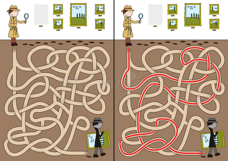 Detektiv- labyrint stock illustrationer