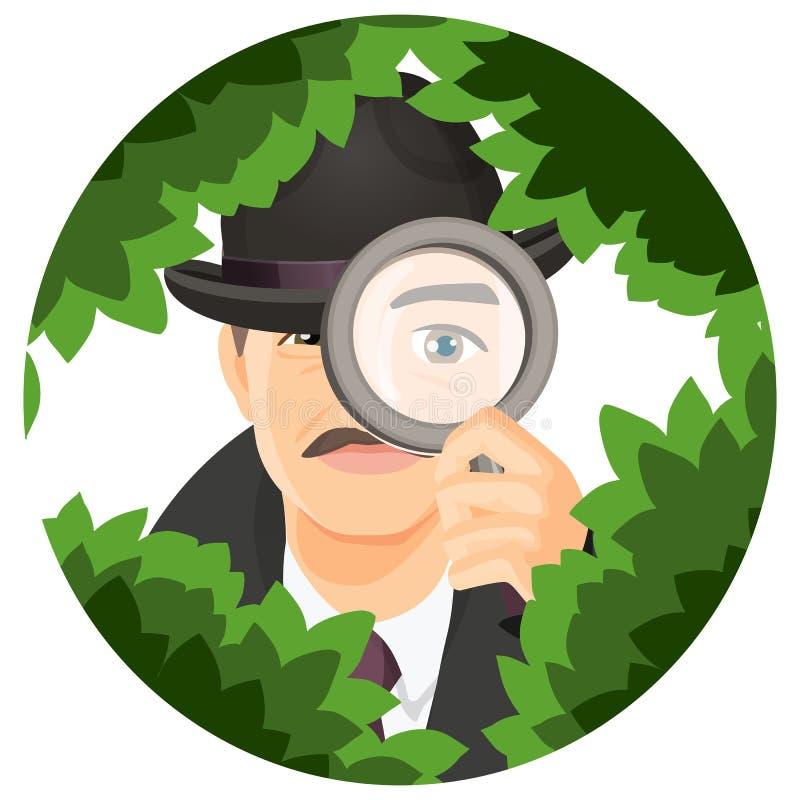 Detektiv mit den Schnurrbärten versteckt sich in den starken Büschen lizenzfreie abbildung
