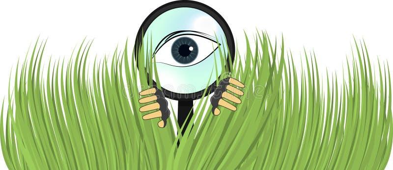 Detektiv-privates Augen-ausspionierenbusch-Abbildung stock abbildung