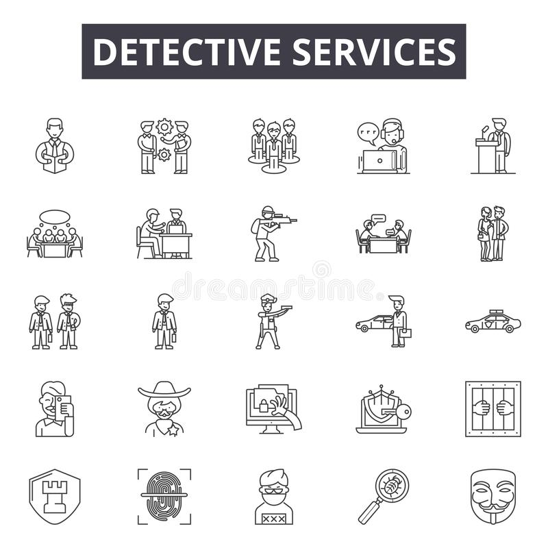 Detektiv- service fodrar symboler, tecken, vektoruppsättningen, översiktsillustrationbegrepp vektor illustrationer