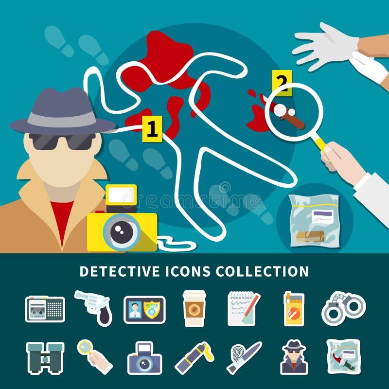 Detektiv- symbolsuppsättning royaltyfri illustrationer