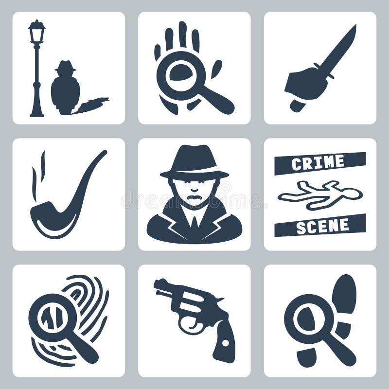 Detektiv- symbolsuppsättning för vektor vektor illustrationer