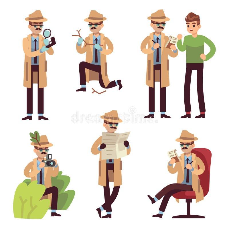 Detektiv- tecken Polisinspekt?ren som ser brotts- fotografera det hemliga medlet f?r falls?kandet som l?ser spionen, avk?nner tec royaltyfri illustrationer