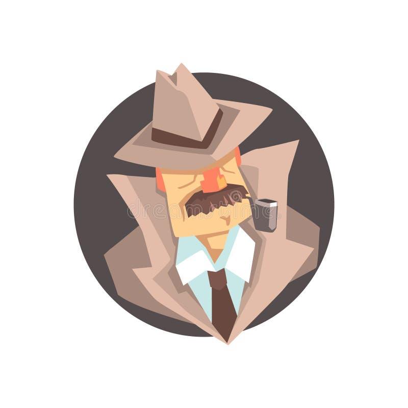Detektiv- tecken som bär den klassiska fedorahattavataren vektor illustrationer