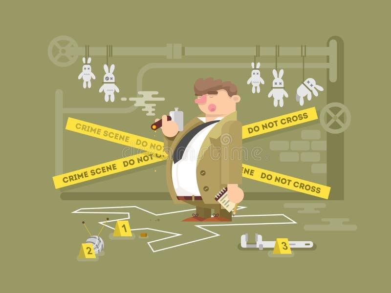 Detektiv- teckenman stock illustrationer