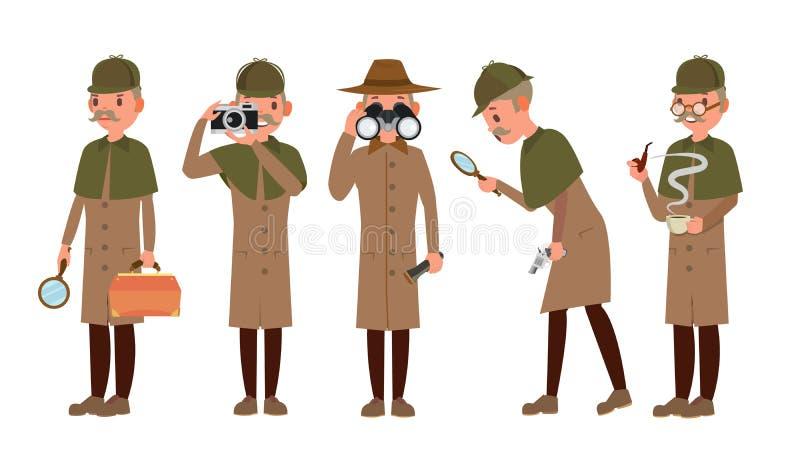 Detektiv- teckenvektor Shamus Spotterman Klassisk kriminalare Equipment Isolerat på den vita tecknad filmillustrationen royaltyfri illustrationer