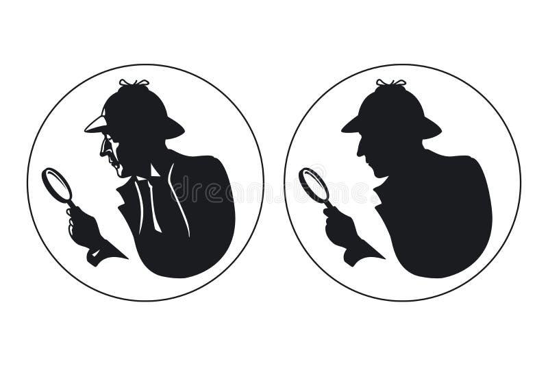 Detektiv- vektorkontur royaltyfri illustrationer