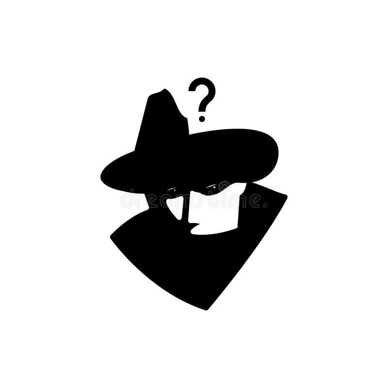 Detektivfragenschwarzweißabbildung vektor abbildung