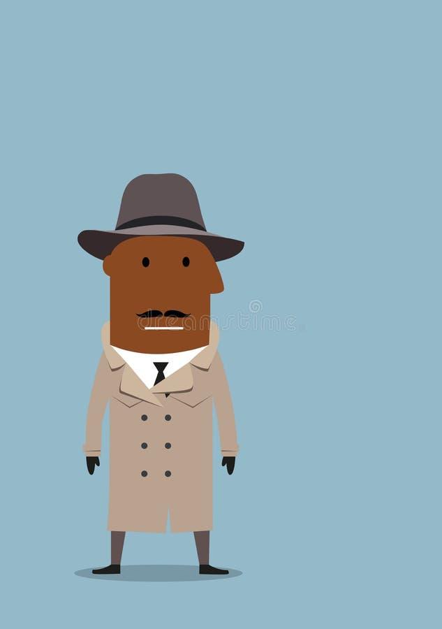 Detektivmann oder Spionsvertreter im Mantel und im Hut stock abbildung