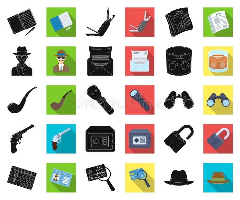 Detektyw i atrybuty czernimy, płaskie ikony w ustalonej kolekcji dla projekta Detektywistycznej agenci symbolu zapasu wektorowa s royalty ilustracja