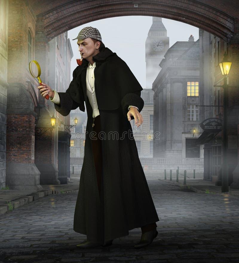 Detektyw Sherlock Holmes w starym Londyn ilustracji
