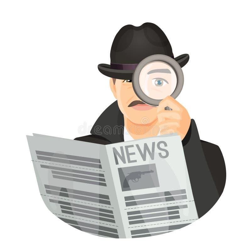 Detektyw w kapeluszu z wąsami trzyma gazetę ilustracji