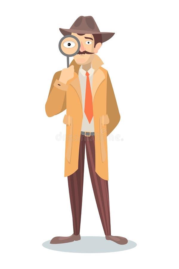 Detektyw z szkłem ilustracji