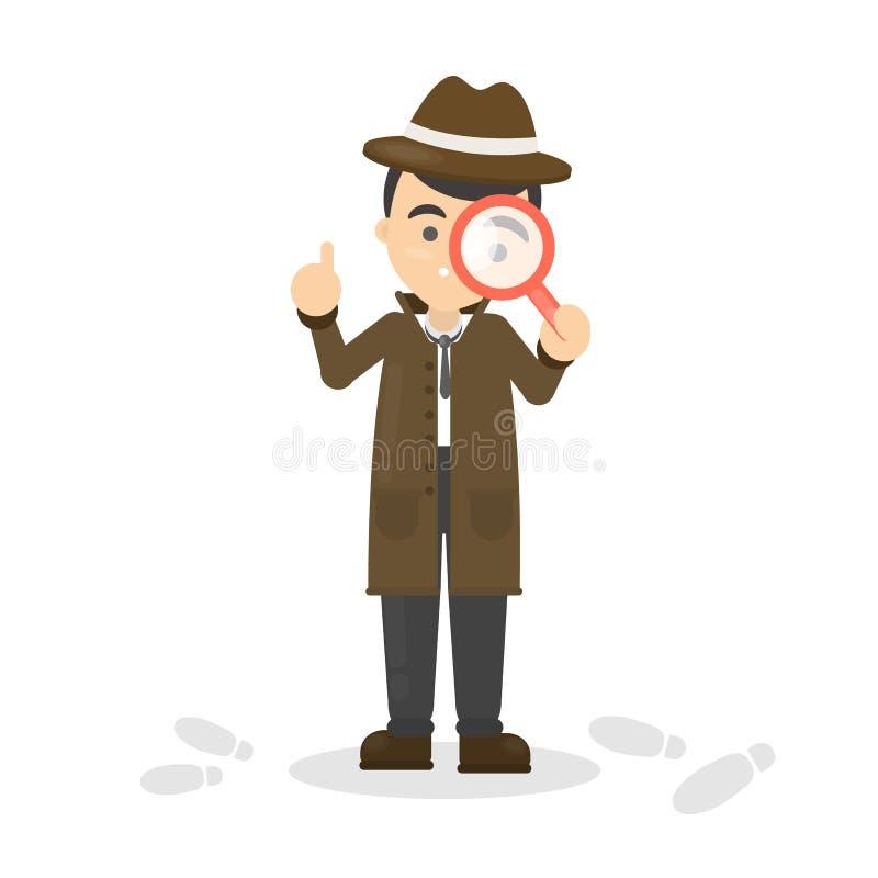 Detektyw z szkłem ilustracja wektor