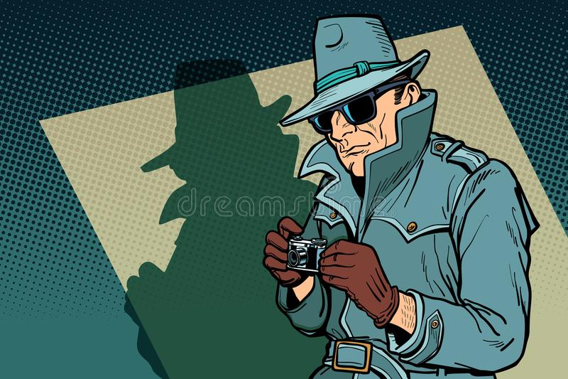 Detektywa szpieg, cień ilustracja wektor