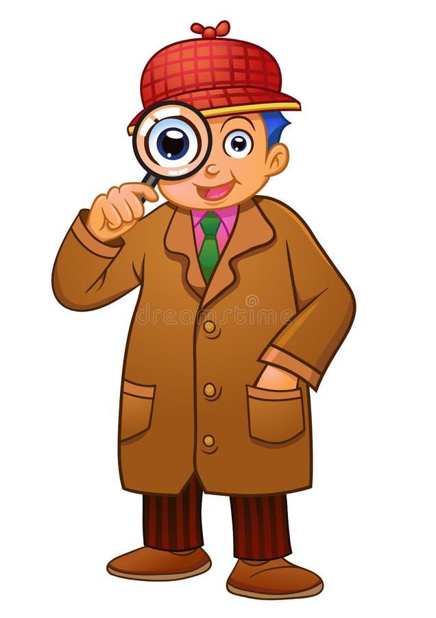 Detektywistyczna chłopiec ilustracja wektor