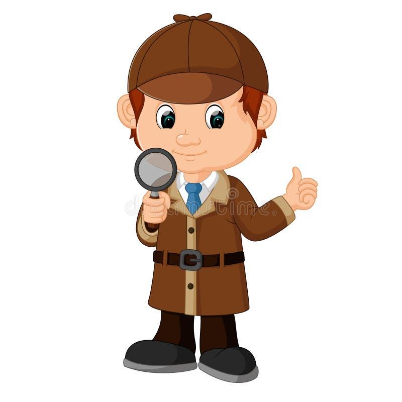 Detektywistyczna chłopiec kreskówka ilustracji