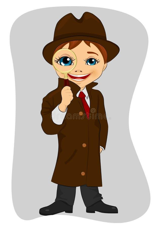 Detektywistyczna chłopiec patrzeje przez powiększać - szkło ilustracji