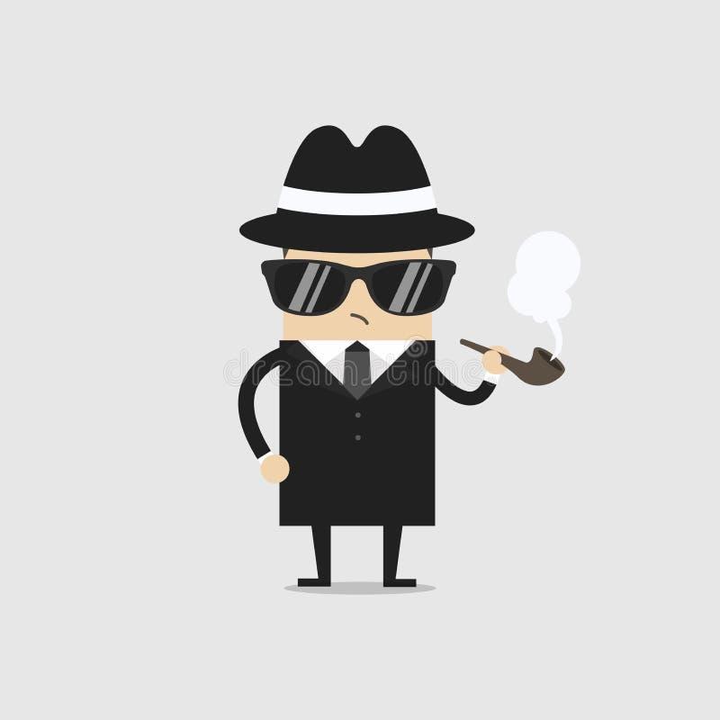Detektywistyczna mężczyzna charakteru dymienia drymba royalty ilustracja