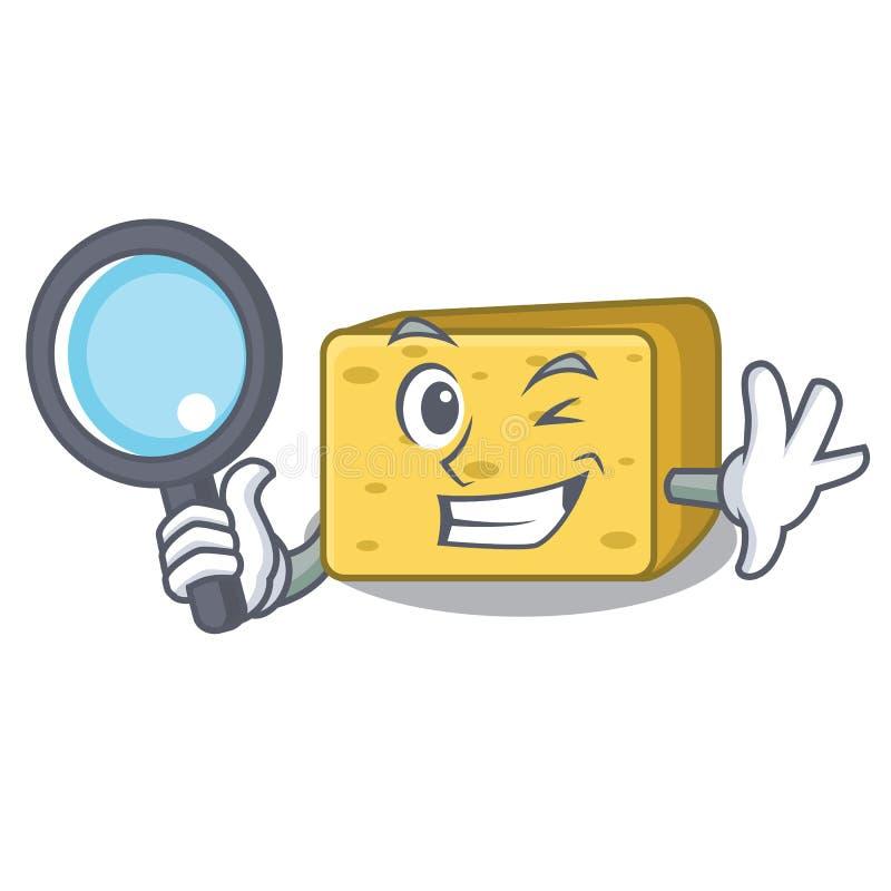 Detektywistycznego charakteru gouda świeży ser ilustracji