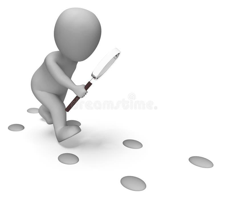 Detektywistyczny charakter Egzamininuje odcisków stopy przedstawień znaleziska dochodzenie ilustracji