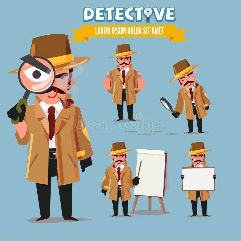 Detektywistyczny charakter - set charakteru projekt z typograficznym - ve royalty ilustracja