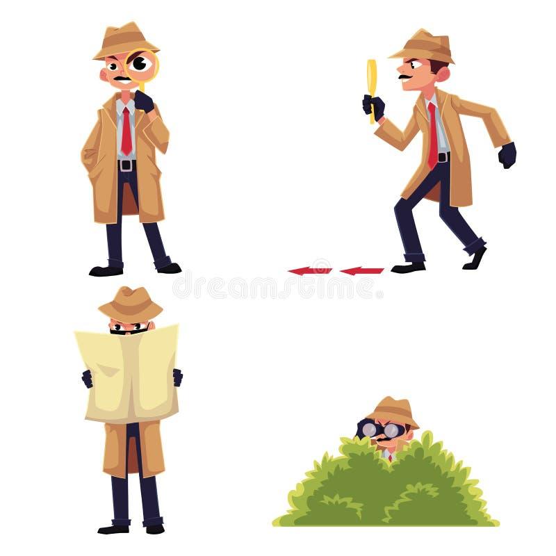 Detektywistyczny charakter z powiększać - szkło, przebierać, szpieguje od krzaka ilustracja wektor
