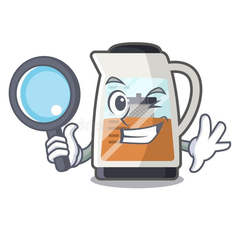 Detektywistyczny herbaciany producent w kreskówka kształcie royalty ilustracja
