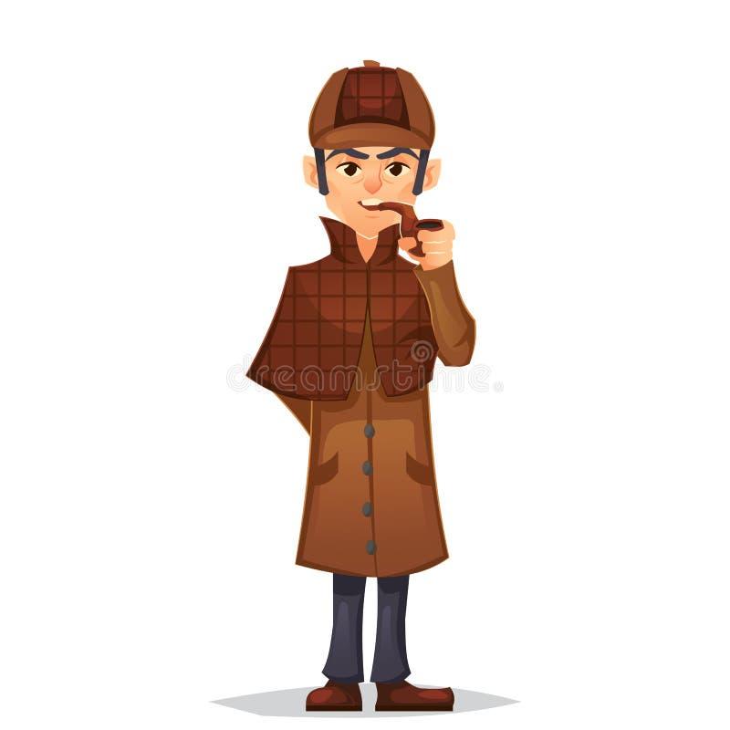 Detektywistyczny mężczyzna charakteru dymienia drymby projekt, kreskówki mieszkania styl, kolor ilustracja ilustracji