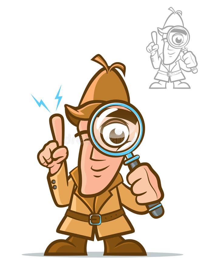 Detektywistyczny postać z kreskówki ilustracja wektor