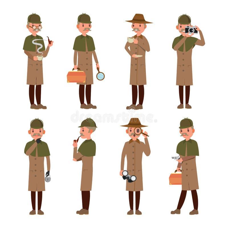 Detektywistyczny wektor Fachowy rocznik Tec, węszenie, Shamus, obserwatora mężczyzna Odosobniona Płaska postać z kreskówki ilustr ilustracja wektor