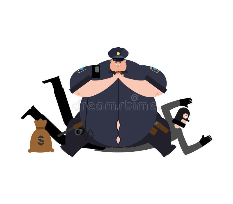 Detenção gorda do chui e do ladrão Polícia e assaltante grossos arres ilustração stock