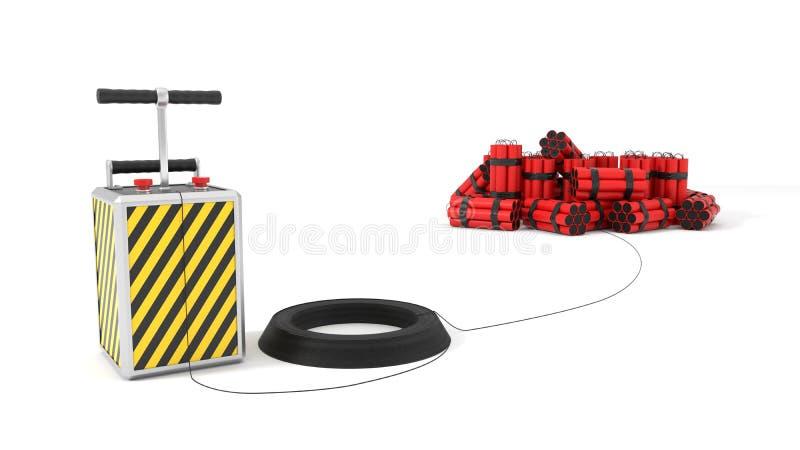 Detenator e blocos da dinamite no fundo ilustração 3D ilustração do vetor