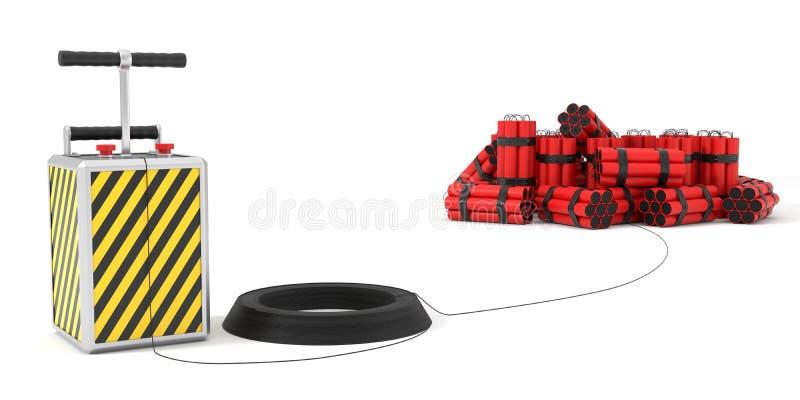 Detenator y paquetes de la dinamita en fondo ilustración 3D ilustración del vector