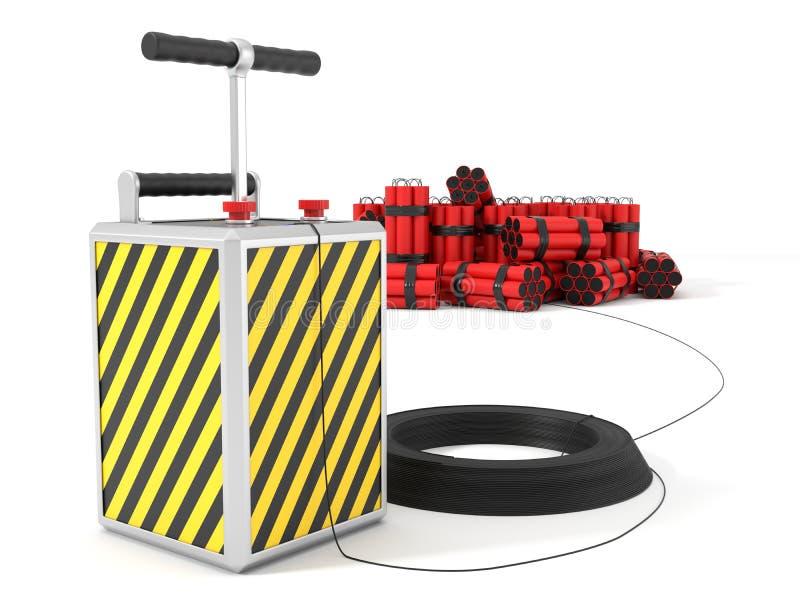 Detenator y paquetes de la dinamita en fondo ilustración 3D stock de ilustración